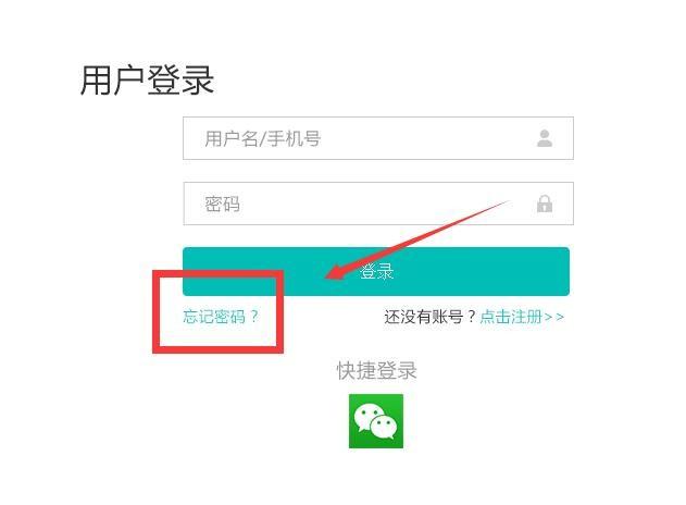 """系统登录窗口,点击密码输入框下面的""""忘记密码""""的链接."""
